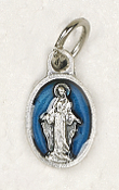 "BRACELET PARTS Catholic medals Tiny Oval Miraculous medal Charm 1/2"" BLUE Enameled"