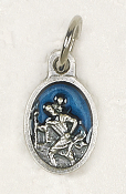 "BRACELET PARTS Catholic medals Tiny Oval St Christopher medal Charm 1/2"" Blue Enameled"