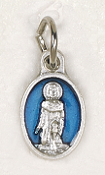 "BRACELET PARTS Catholic medals Tiny Oval Saint Peregrine medal Charm 1/2"" BLUE Enameled"