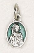 "BRACELET PARTS Catholic medals Tiny Oval Saint Jude medal Charm 1/2"" GREEN Enameled"