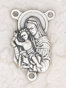 20/Pc Deluxe Madonna/Child Centerpiece Rosary Parts 2.2x1.9cm-Premium Italian made Rosary Centerpieces Genuine SILVER OXIDIZED Finish Rosary Centers to make rosaries Center Rosary parts