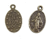 Tiny Miraculous Medal DELUXE BRONZE FINISH Oval 1.4cm
