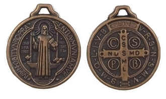"Saint Benedict medal Copper Finish ROUND 7/8"" Jubilee Copper tone"