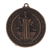 "LARGE Saint Benedict Jubilee copper Finish Medal 1 3/4"" ROUND"