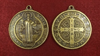"LARGE Saint Benedict Jubilee BRONZE Finish Medal 1 7/8"" ROUND WHOLESALE CATHOLIC MEDALS"