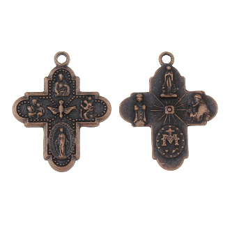 "8 Way Cross Medal with Holy Spirit copper finish H-1"" Italy four way man catholic crosses Saint Joseph, St Christopher, Sacred Heart of Jesus, Lady of Grace (Miraculous), Back Side Infant of Prague, Lady of Lourdes, St Anthony"