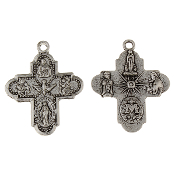 "25/Pc 8 or 4 Way Cross Medal with Holy Spirit Antique Silver H-1"" Italy..Holy Spirit 4 Way Cross 1"" -Saint Joseph, St Christopher, Sacred Heart of Jesus, Lady of Grace (Miraculous), Back Side Infant of Prague, Lady of Lourdes, St Anthony"