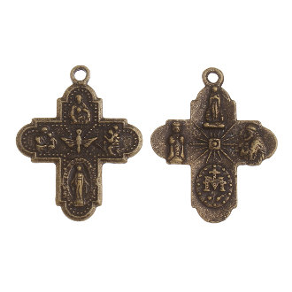 "8 Way Cross Medal with Holy Spirit BRONZE finish H-1"" Italy four way man catholic crosses Saint Joseph, St Christopher, Sacred Heart of Jesus, Lady of Grace (Miraculous), Back Side Infant of Prague, Lady of Lourdes, St Anthony"