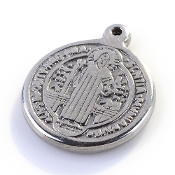 Small Stainless Steel Saint Benedict medal 1.7cm Round- Necklace pendant Wholesale