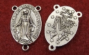 Miraculous Rosary Center Piece 2.0cm Antique Silver Finish-Rosary Centers to make rosaries Our Lady of the Rosary