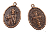 10/Pc Saint Benedict Jubilee Medal Charm COPPER Finish oval 1""