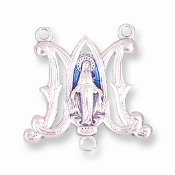 BLUE Deluxe Made in Italy Silver Miraculous medal Center Pieces Rosary Parts and component. Virgin Mary