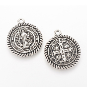 Large St Benedict Holy Medal Antique Silver Finish 1 1/4""