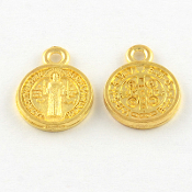 Miniature St Benedict medal Charm GOLD Finish 1.1cm round