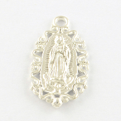 Our Lady Lady of Guadalupe fancy medal Shiny Silver 2.4cm