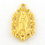 Our Lady Lady of Guadalupe fancy medal Shiny Gold 2.4cm
