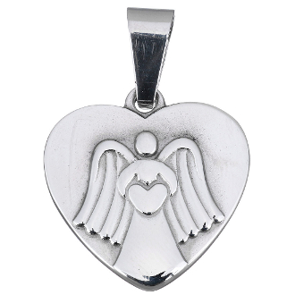 100% Stainless Steel Angel with Heart medal charm 2.3 x 2.4cm Necklace Wholesale