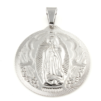 "Large Round Lady of Guadalupe medal 1 3/4"" Stainless Steel inexpensive medals-Catholic Religious Supplies"