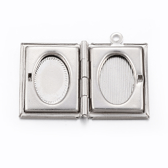 100% solid 304 Stainless Steel Locket Pendants, Rectangle