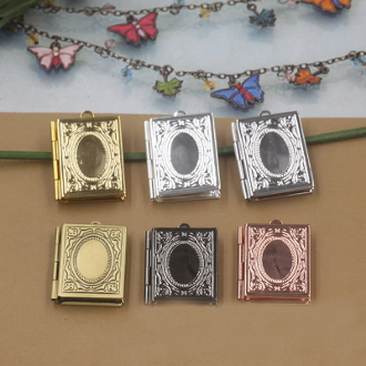 Brass Photo/Picture Locket Pendant Setting Square 0.9x2.6x0.4cm-Bronze-Rose,Gold,Silver