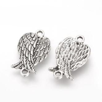 Small 3D Angel Wing Connector Antique silver 1.5 x 1.2cm Wholesale bulk prices Rosary supplies and parts