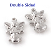 100% Stainless Steel Angel medal charm 2.7cm Double Sided Necklace Wholesale