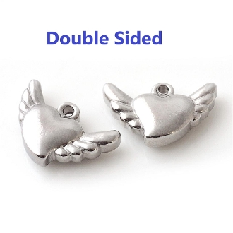100% Stainless Steel Angel Wings/Heart charm 1.0cm Double Sided