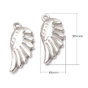100% Stainless Steel Angel Wing charm Double Sided