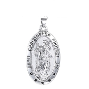 "100% Stainless Steel Large Saint Christopher Medal oval 1 3/8"", Necklace"