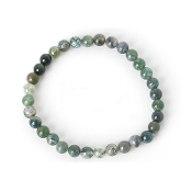 Real Gemstone Moss Agate Bracelet Approx 7.5 Inch 6mm bead rosary parts and supplies-Elastic Stretch Bracelet.