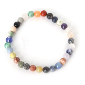 Real Gemstone mixed color beads Bracelet Approx 7.5 Inch 6mm bead rosary parts and supplies-Elastic Stretch Bracelet.