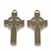 Irish Celtic Cross Bronze Finish Double Sided with two different styles on each side. Necklace- It is truly a unique symbol of either your faith or your appreciation of Irish culture, so why shouldn't you have a gorgeously authentic cross of your own