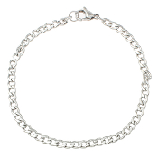 100% Stainless Steel Jewelry Bracelet curb chain 7 1/2""