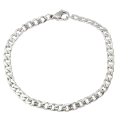 100% Stainless Steel Jewelry Bracelet curb chain 6""