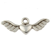 Antique Silver Finish Heart Angel Wing Charm 2.8cm