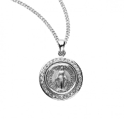 "Miraculous Medal Blessed Mother Mary with rays coming out of her extended hands, crushing a serpent under her feet.Round shaped double sided medal with pink cubic zirconias ""CZ's"" Solid .925 sterling silver."