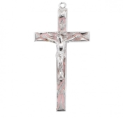 "Rosary parts to make rosaries crucifixes rosary making supplies High Polished Pink Enameled Sterling Silver Crucifix 2.2"" x 1.1"""