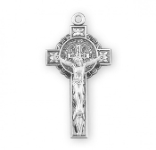 "Rosary parts to make rosaries crucifixes rosary making supplies St Benedict Jubilee Sterling Silver Medal/Crucifix 1.6"" x 0.7"".Saint Benedict double sided jubilee pendant. Solid .925 sterling silver. St Benedict is the protector against evil."