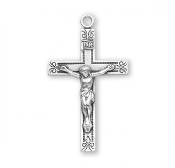 "Rosary parts to make rosaries crucifixes rosary making supplies Traditional Swirl Design Sterling Silver Crucifix cross 1.6"" x 0.9"""