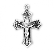 "Rosary parts to make rosaries crucifixes rosary making supplies Gothic Style Sterling Silver Crucifix cross 1.5"" x 1.1"""