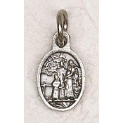 "Tiny Oval Guardian Angel medal Bracelet Charm 1/2"" Italy"