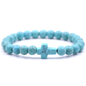 Real Gemstone Bracelet Blue Turquoise Bracelet 8mm bead bead rosary parts and supplies-Elastic Stretch Bracelet.