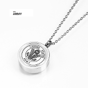 Memorial Military Urns-ARMY Pendant ash URN Titanium Steel. Military Urns | Veterans Urns Pendant URNS. Made of solid Titanium Steel Cinerary Casket Necklace with Chain. Cremation Necklace for Ashes.