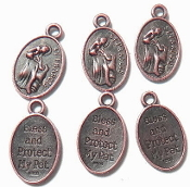"as low as 65¢ each 1"" St Francis Pet medal COPPER BLESS AND PROTECT MY PET-Saint Francis of Assisi , the Patron of Animals- Image of St. Francis, the Patron of Animals Christian/Religious Pet Medals- Feast day October 4th"