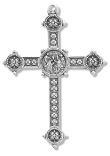 "Our Deluxe Rosary Crucifixes are known for the most beautiful intricate designs Rosary parts Made in Italy PAPAL BLESSING CROSS Silver Oxidized 2"" Made in Italy"