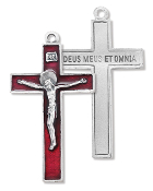 "Our Deluxe Rosary Crucifixes are known for the most beautiful intricate designs Rosary parts 2"" CRUCIFIX RED enameled Silver Oxidized Made in Italy"