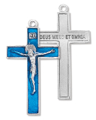 "Our Deluxe Rosary Crucifixes are known for the most beautiful intricate designs Rosary parts 2"" CRUCIFIX BLUE enameled Silver Oxidized Made in Italy"