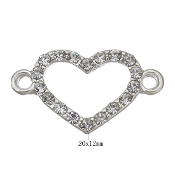 Heart Connector silver with clear rhinestone & 1/1 loop Rosary Parts. polished