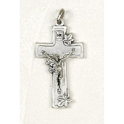 "Our Deluxe Rosary Crucifixes are known for the most beautiful intricate designs Rosary parts Premium Lily Cross CRUCIFIX Silver Oxidized Italy 1 3/4 x 1"" Silver Oxidized Made in Italy"