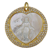 Elegant REAL White Shell Lady of Grace medal surrounded by 108 clear crystal Cubic Zirconia. Micro Pave Brass Pendant micro pave. pendant. Gold Finish medal Our Lady of Grace, Virgin Mary. The pendant has a total 108 Cubic Zirconia